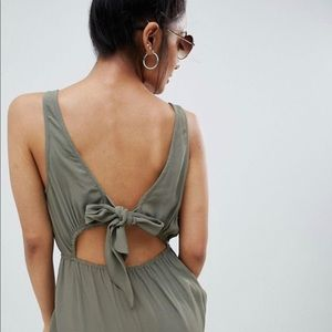 ASOS Olive Tie Back Maxi